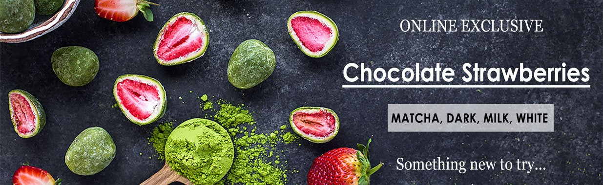 Online Exclusive- White, Matcha, Milk or Dark Chocolate Strawberries
