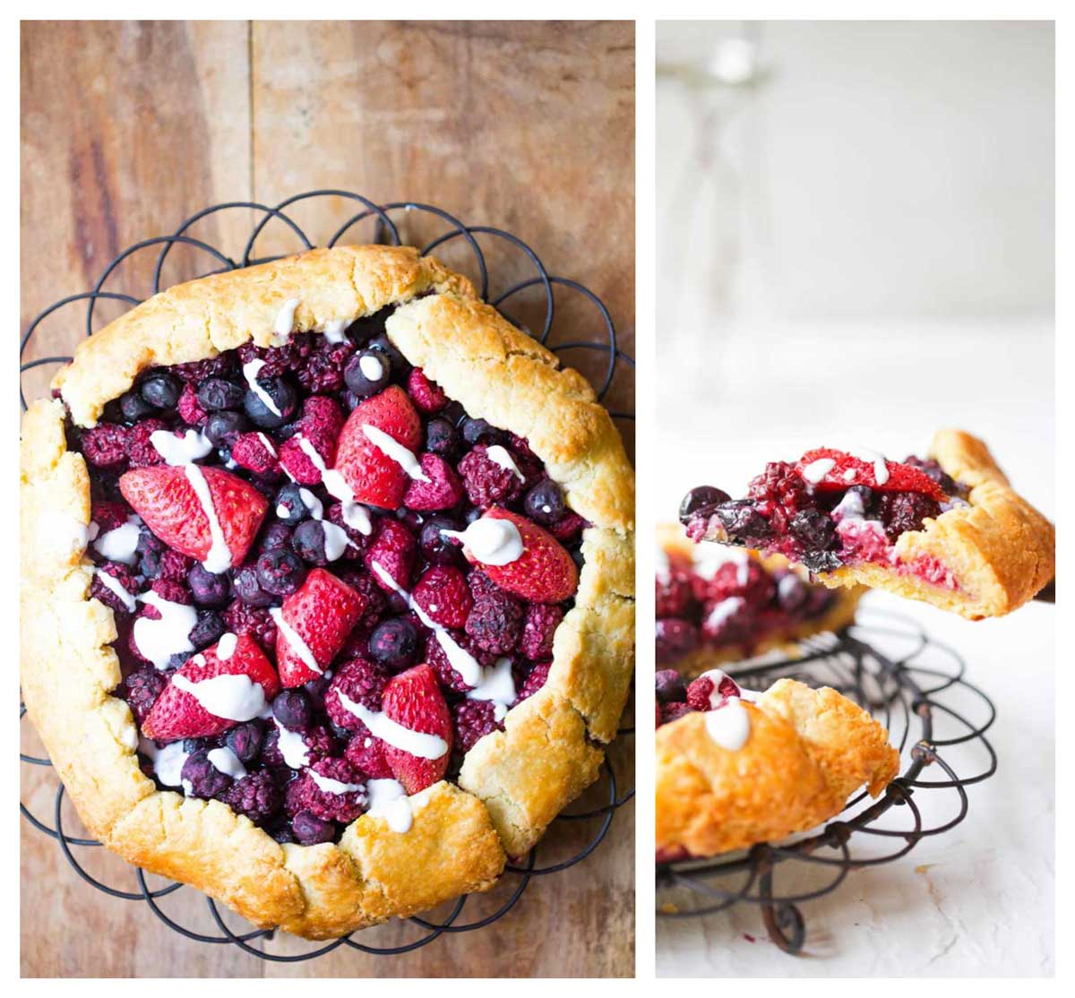 Berries and Galette with a slice on a cutter