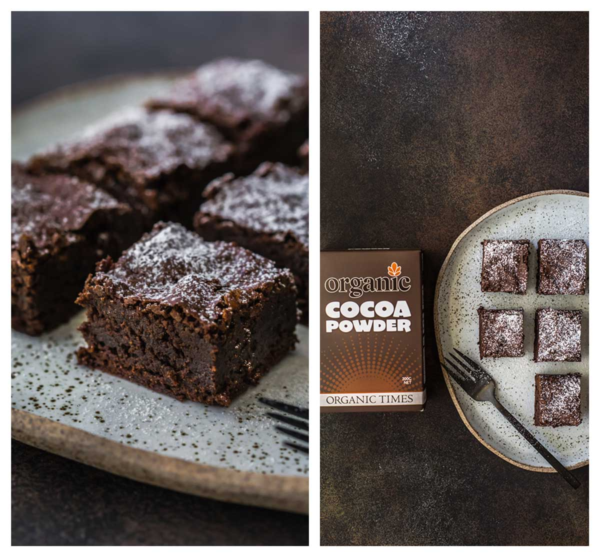Chocolate brownies with a box of Organic Times Cocoa Powder
