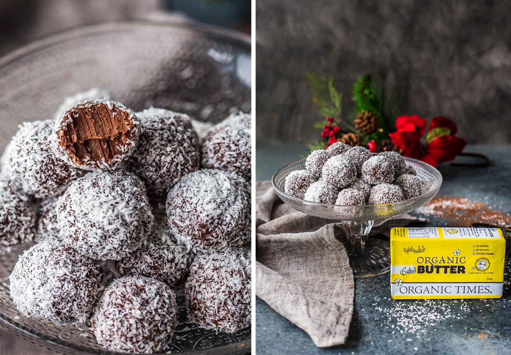 A plate of Chocolate Rum Truffles next to Organic Times Salted Butter and Christmas decorations