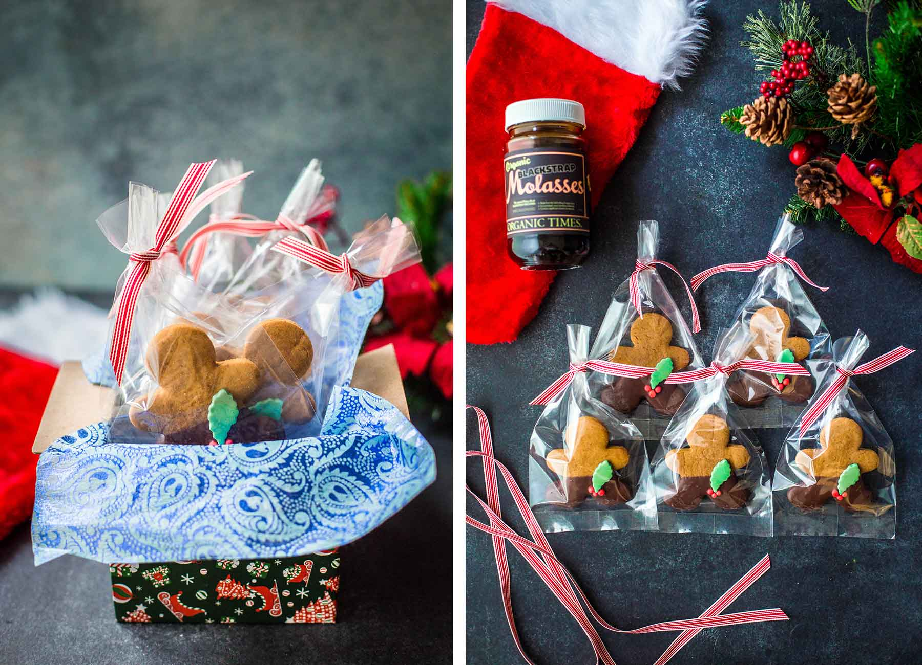 Gift wrapped Gingerbread Men cookies next to Orgnaic Times molasses and Christmas decoration