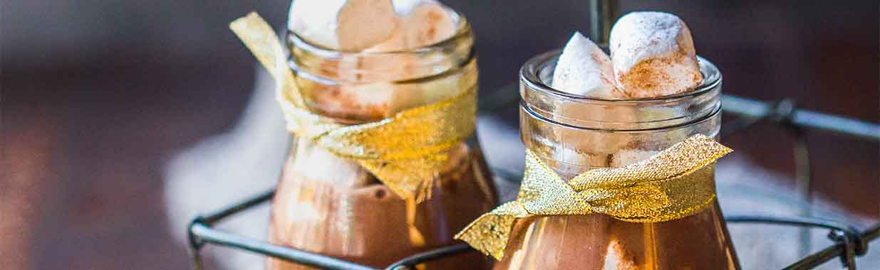 Hot chocolate mix in jars with ribbons