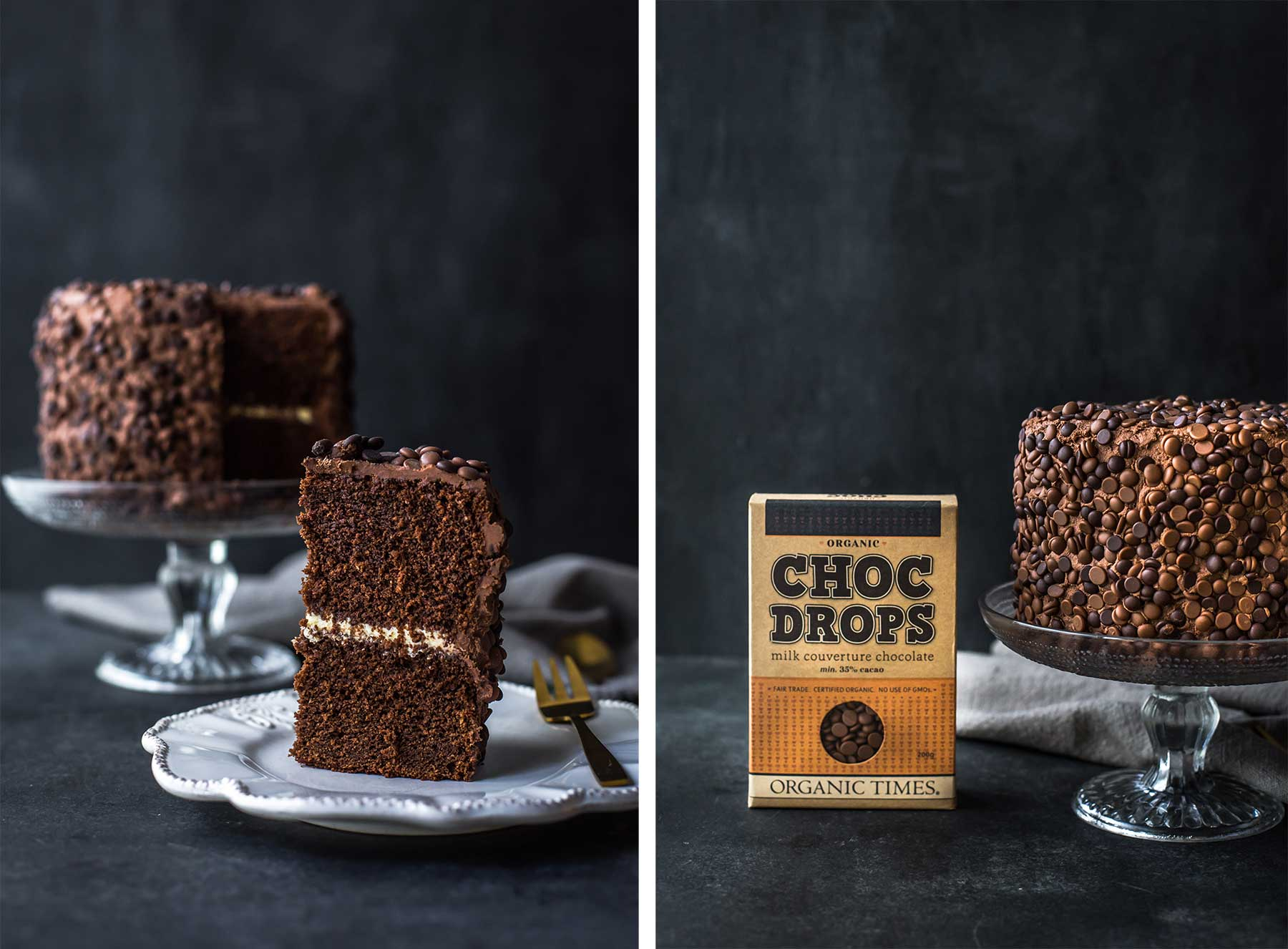 A slice of and a whole chocolate cake next to a box of Organic Times milk chocolate drops