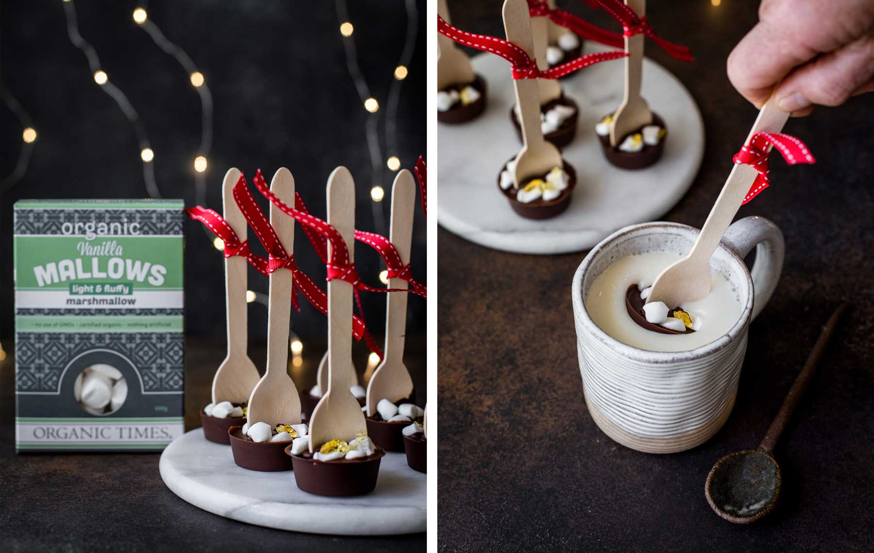 Hot Chocolate Spoons on a marble board next to Organic Times Marshmallows