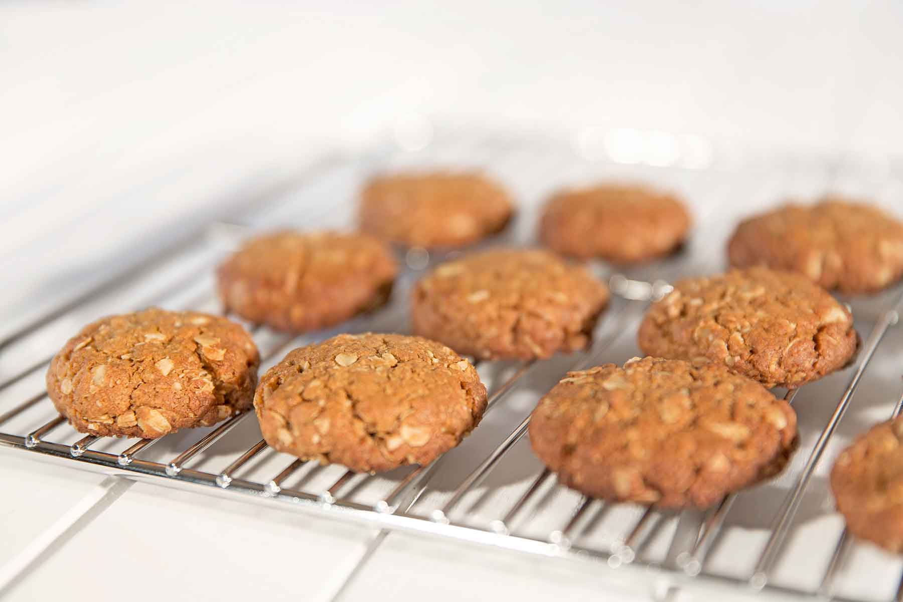 A tray of Organic Times Anzac biscuits