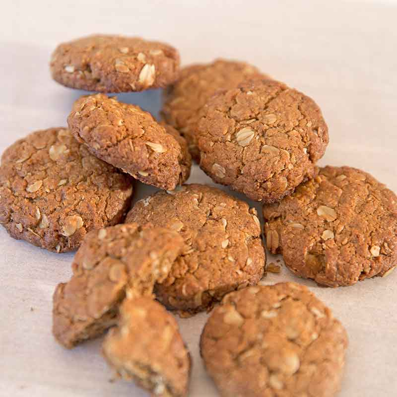 A pile of Organic Times Anzac biscuits