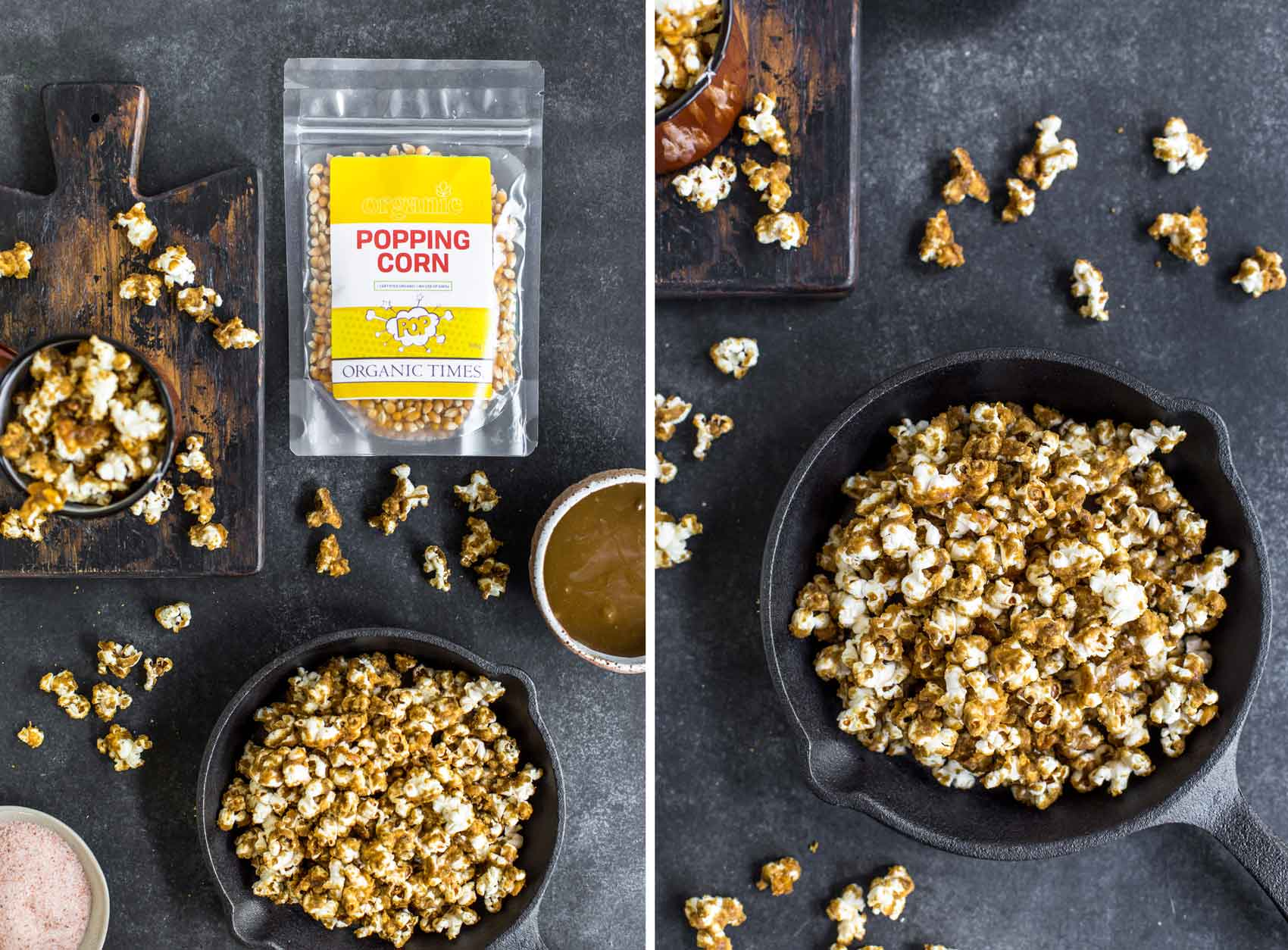 A packet of Organic Times popping corn next to a bowl of caramel sauce and a pan of caramel popcorn