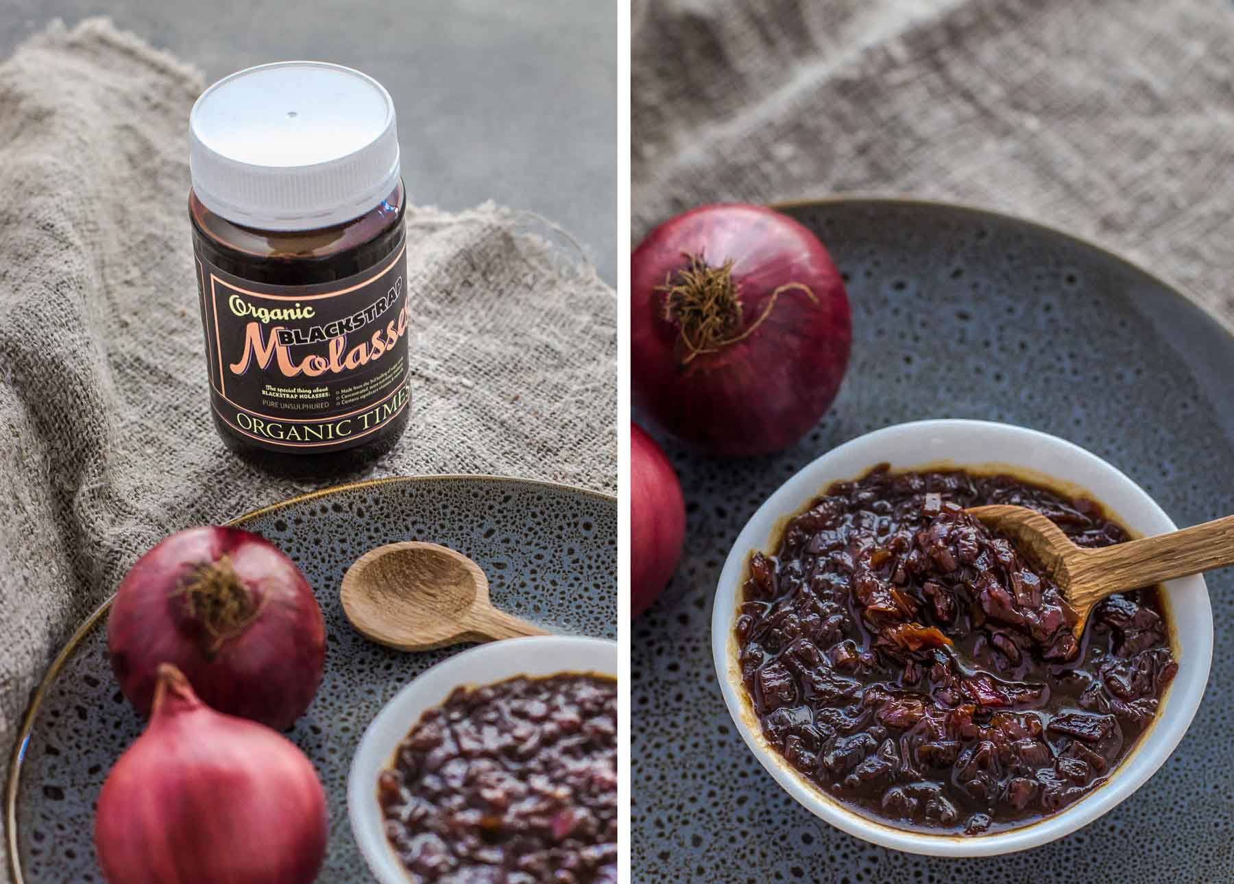 A jar of Organic Times Molasses next to a bowl onion jam and red onions