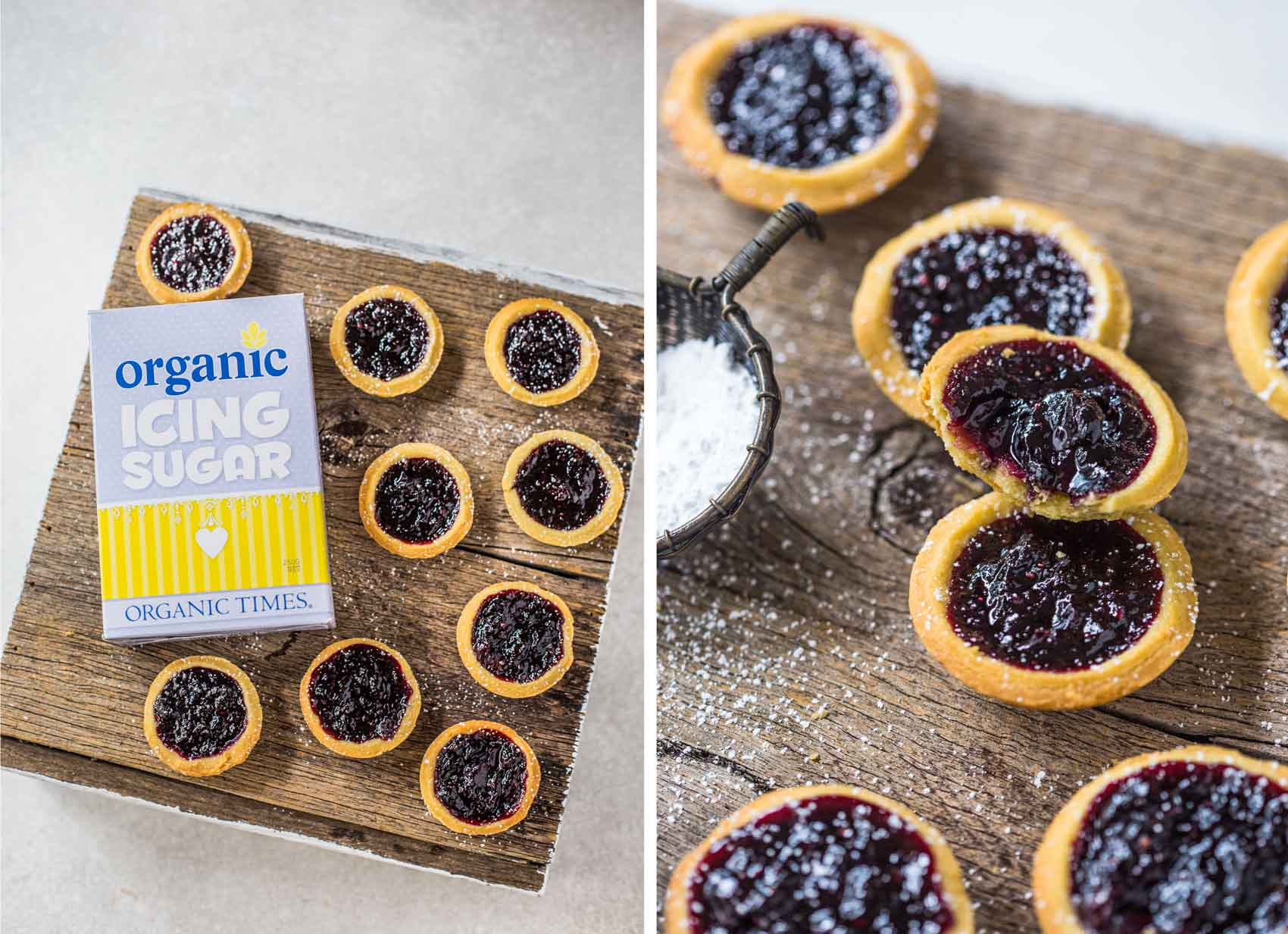 A box of Organic Times Icing Sugar next to Berry Jam Tarts on a wooden serving board