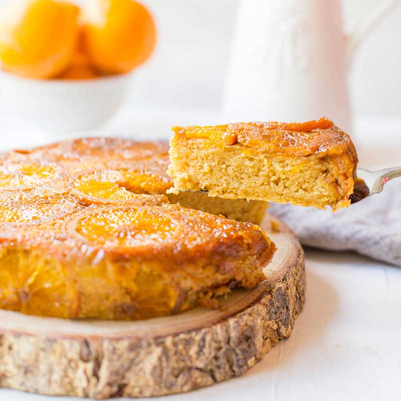 A slice of Caramelised Flourless Orange Cake