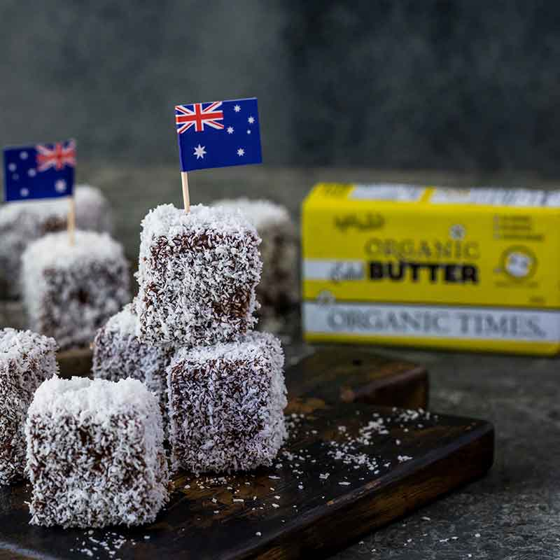 Organic Times Salted Butter with homemade lamingtons