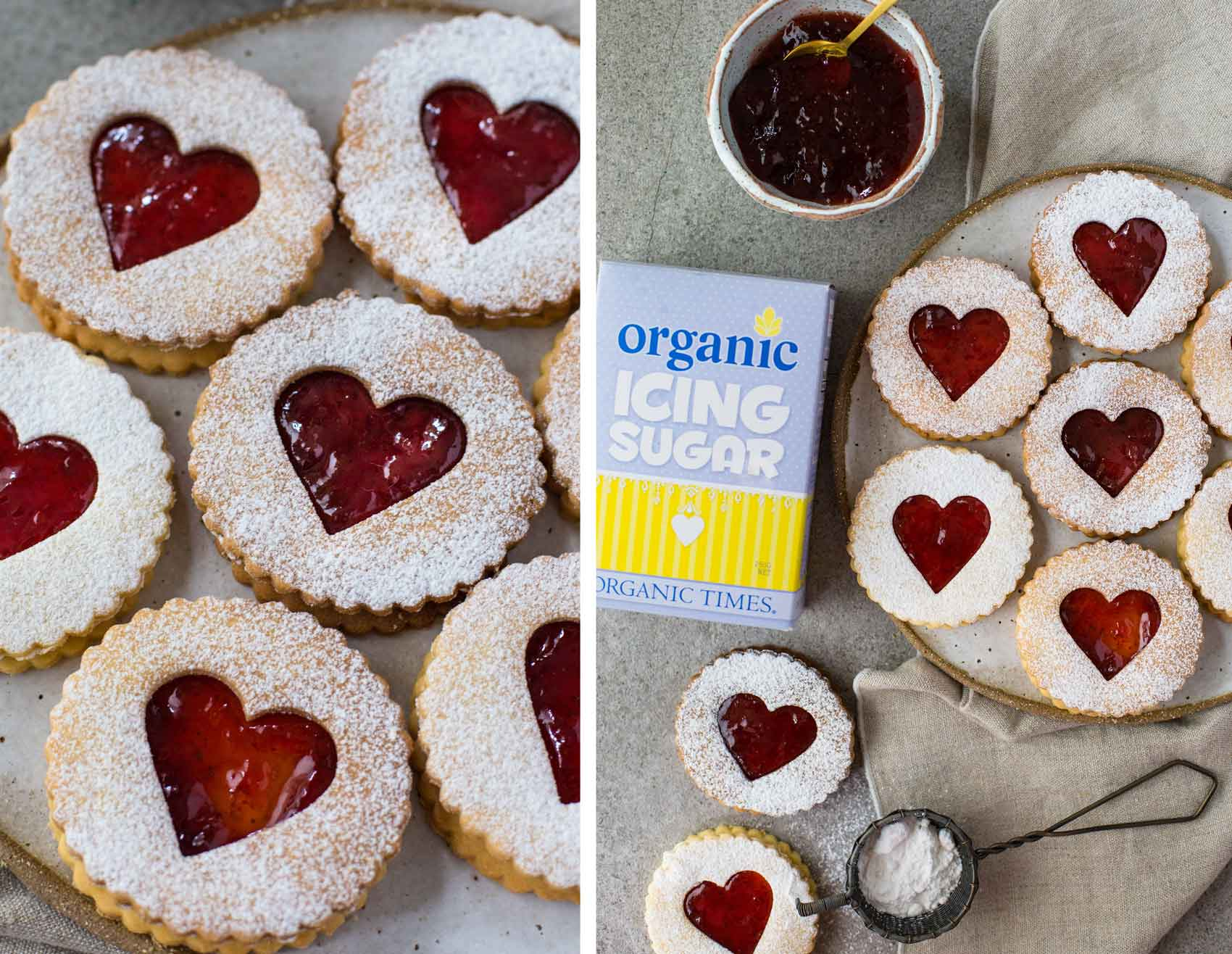 Organic Times Icing Sugar next to a plate of Valentine's Day Shortbread