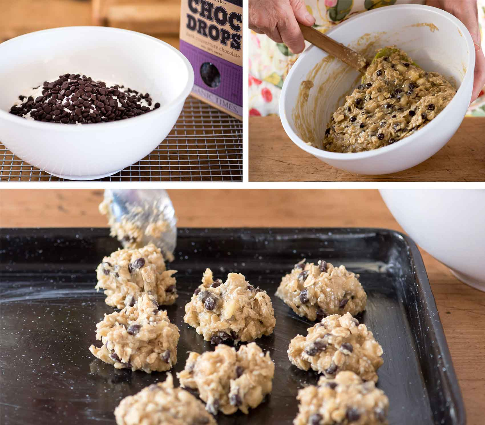 Mixing up Organic Times ingredients for chocolate drop biscuits