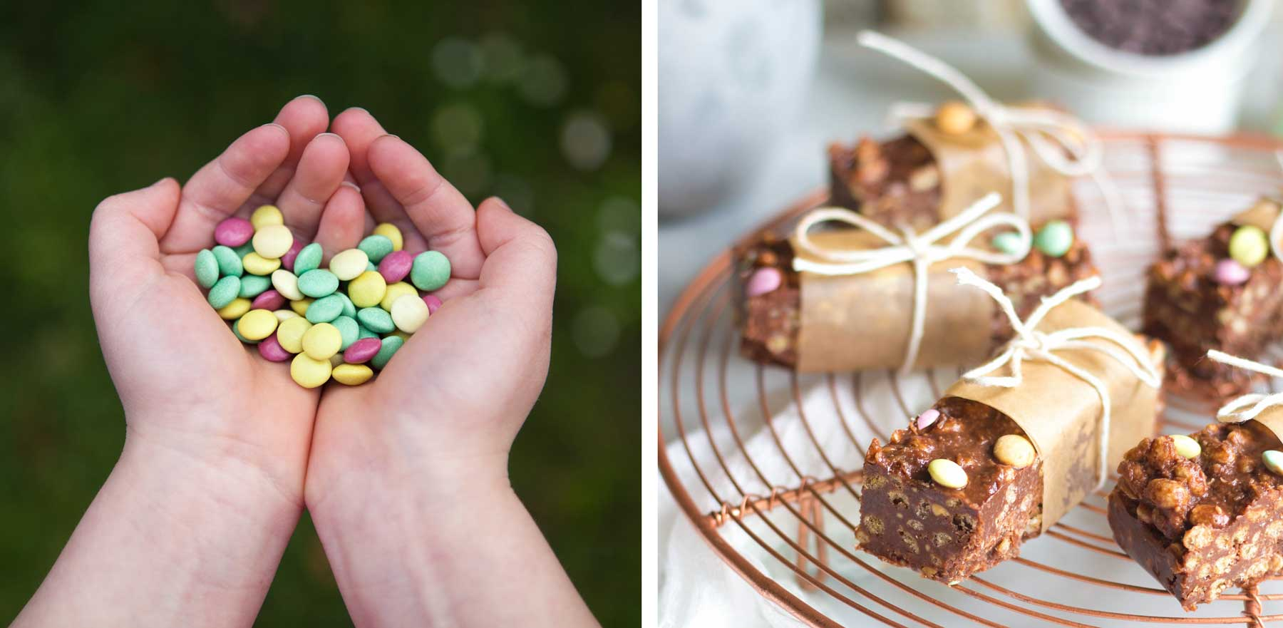 A handful of Organic Times Little Gems and Chocolate Crackle Bars