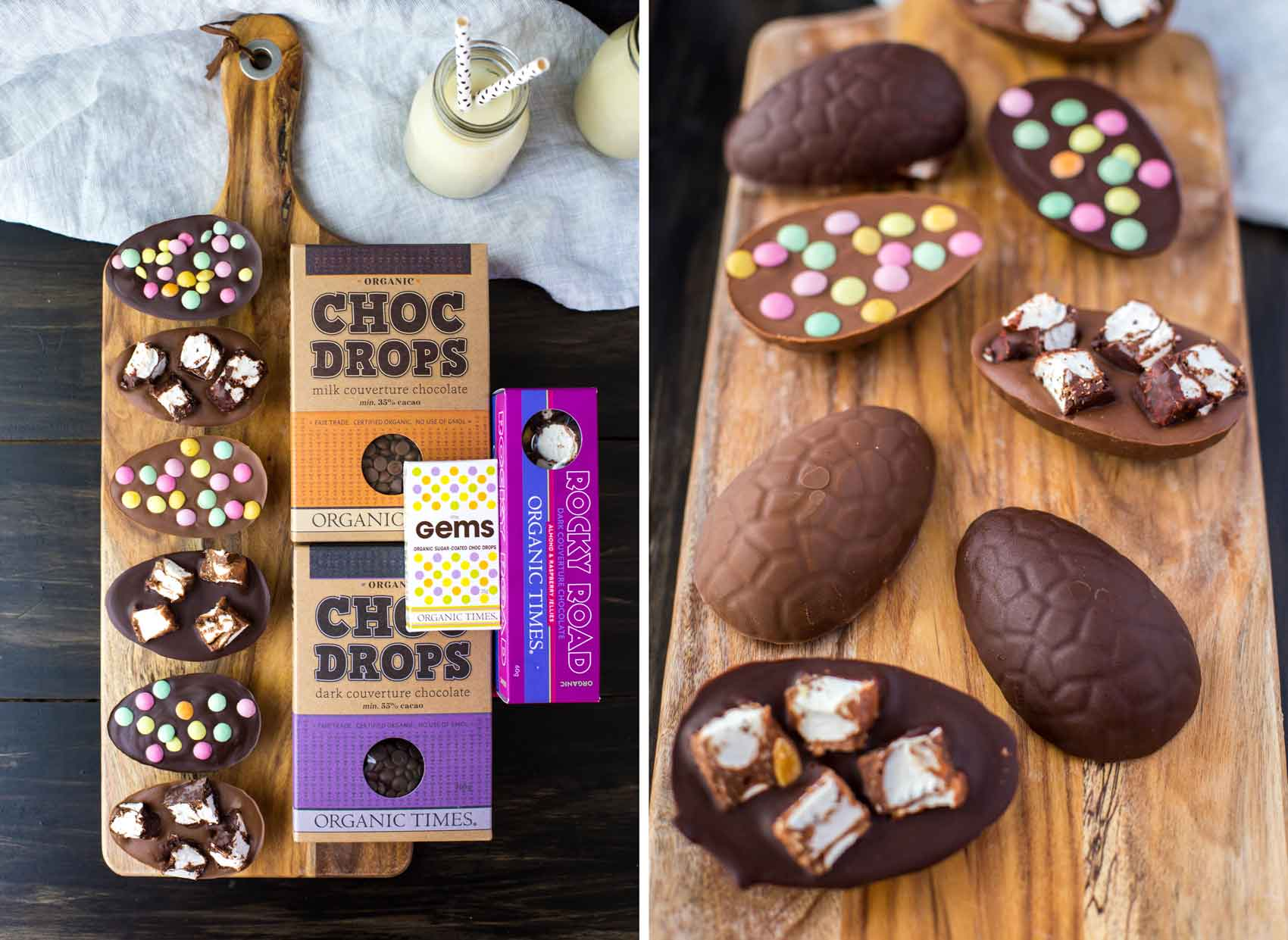 Organic Times Chocolate Products next to Rocky Road Easter Eggs on a board
