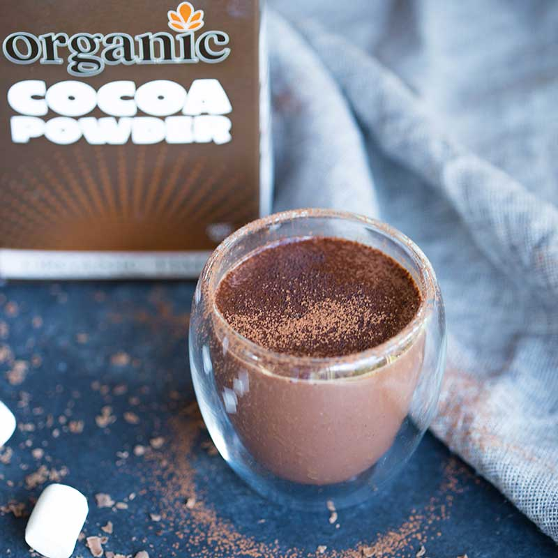 A cup of hot chocolate with Organic Times Cocoa Powder