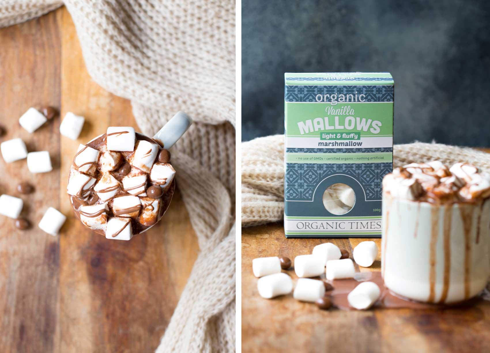 A mug of hot chocolate with Organic Times Marshmallows