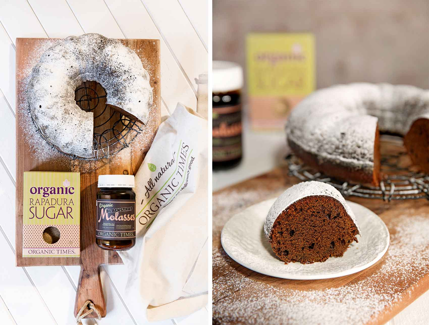 Gingerbread Cake slices with a jar of Organic Times Molasses and Rapadura Sugar