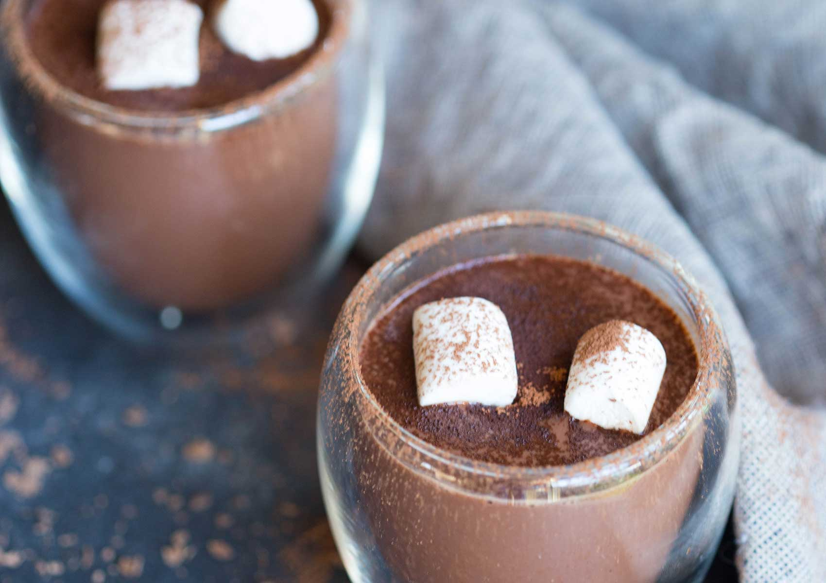 A cup of hot chocolate with Organic Times Marshmallows on top