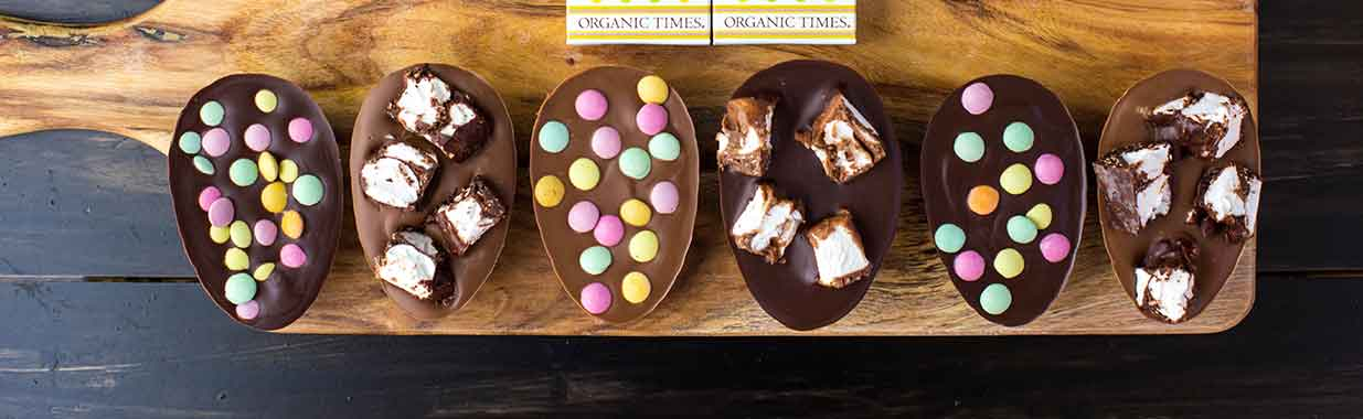 Homemade Rocky Road Easter Eggs on a board