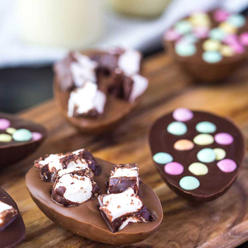 Organic Times homemade Rocky Road Easter Eggs on a board