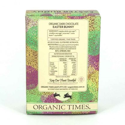 The back of an Organic Times Dark Chocolate Easter Bunny box