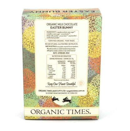 The back of an Organic Times Milk Chocolate Easter Bunny box