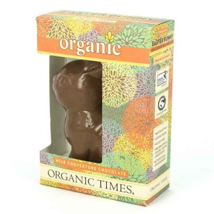 An Organic Times Milk Chocolate Easter Bunny