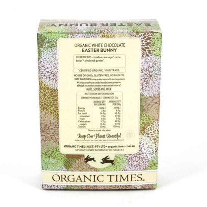 The back of an Organic Times White Chocolate Easter Bunny box