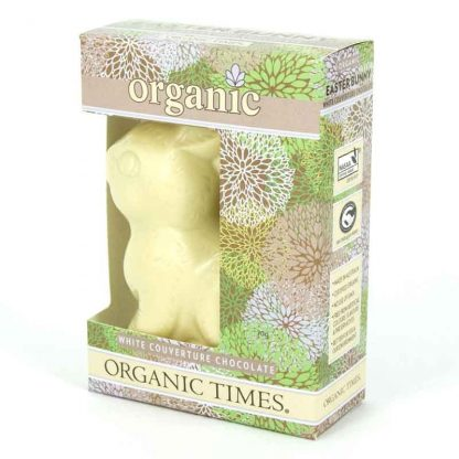 An Organic Times White Chocolate Easter Bunny