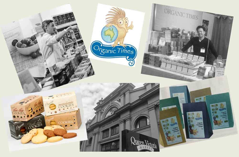 Historical images of Organic Times owners, logo and packaging