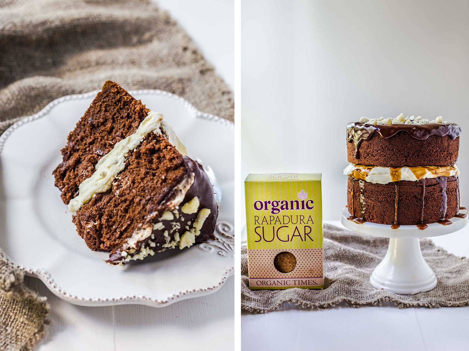 Organic Times Rapadure Sugar packet next to a slice of Chocolate Caramel Cream Layer Cake
