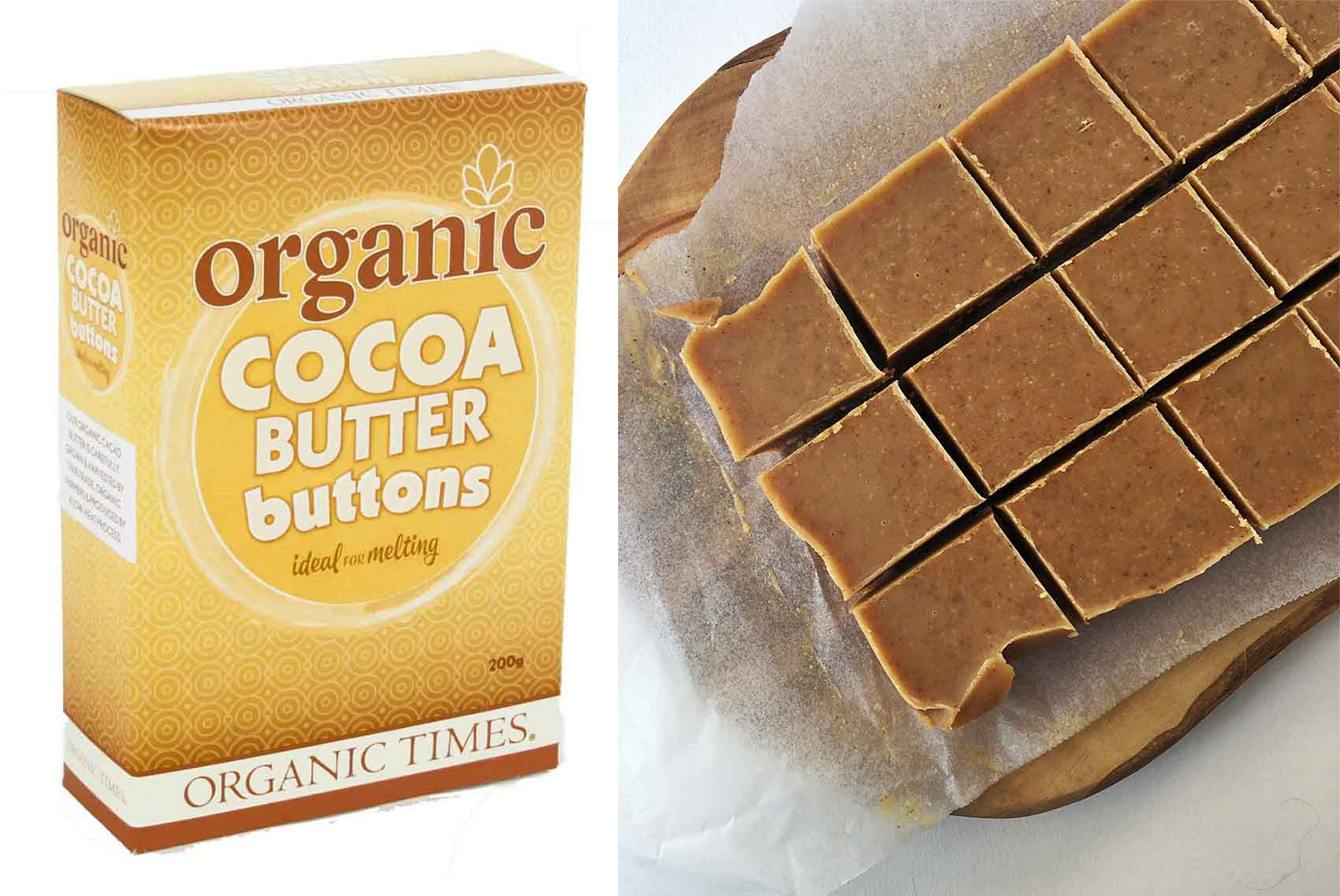 Organic Times Cocoa Butter next to slices of almond butter fudge