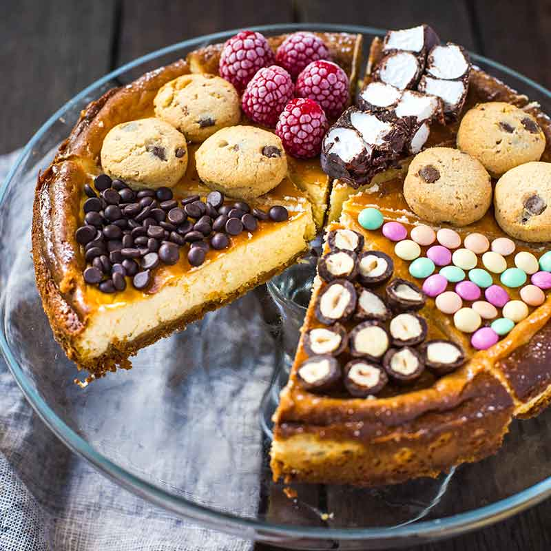 A cheesecake topped with Organic Times treats