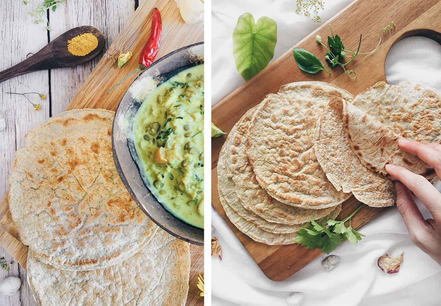 Coconut flatbreads next to a bowl of curry