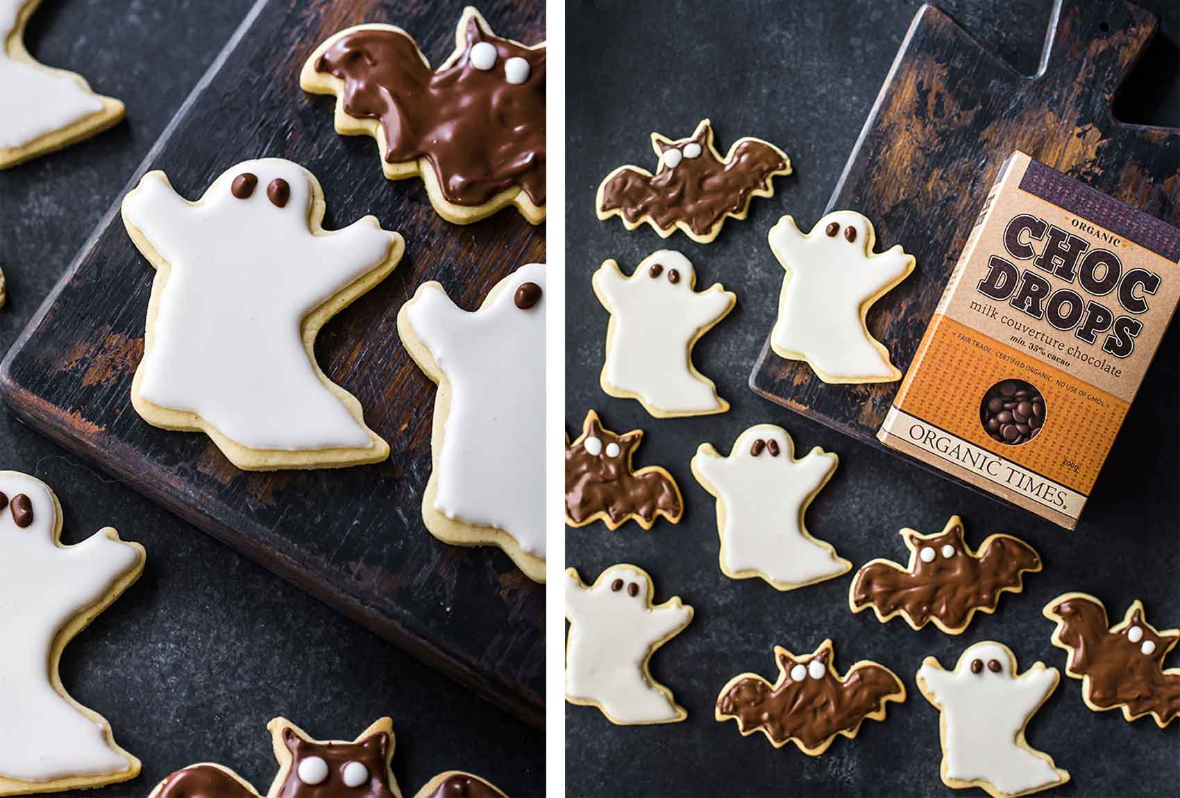 Organic Times Milk Chocolate Drops next to a tray of Halloween ghost and bat cookies