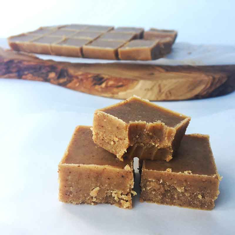 Slices of almond butter fudge