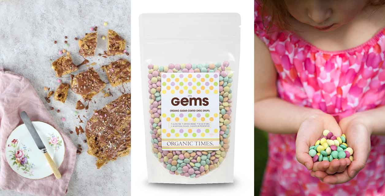 Little Gems on honeycomb pieces, a packet of little gems, a little girl holding little gems