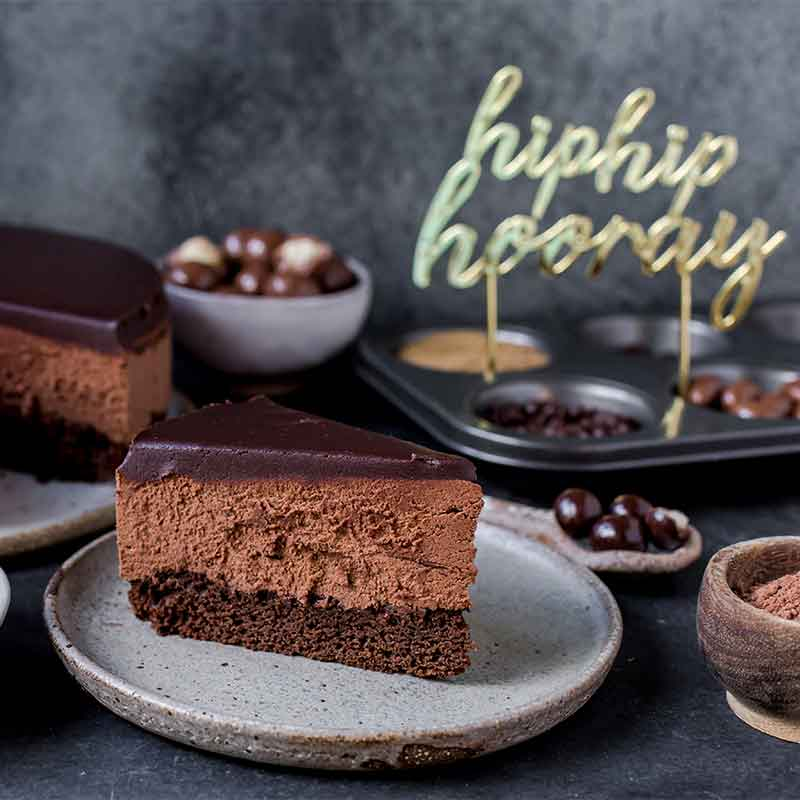 A slice of chocolate mousse cake