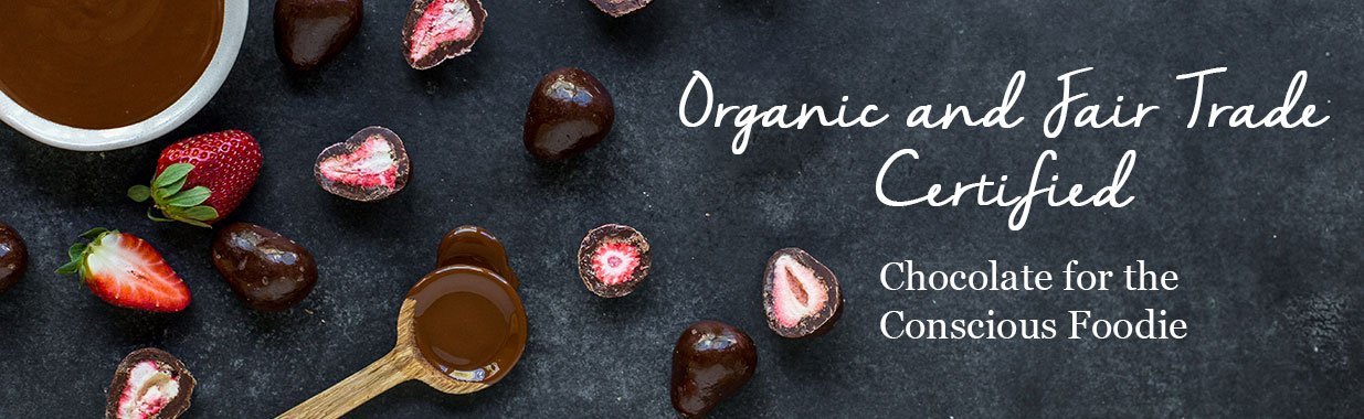 Organic Times dark chocolate coated strawberries and melted chocolate
