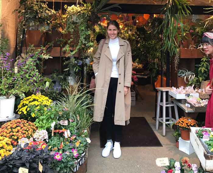 Annabelle Lambie in a florist in Japan