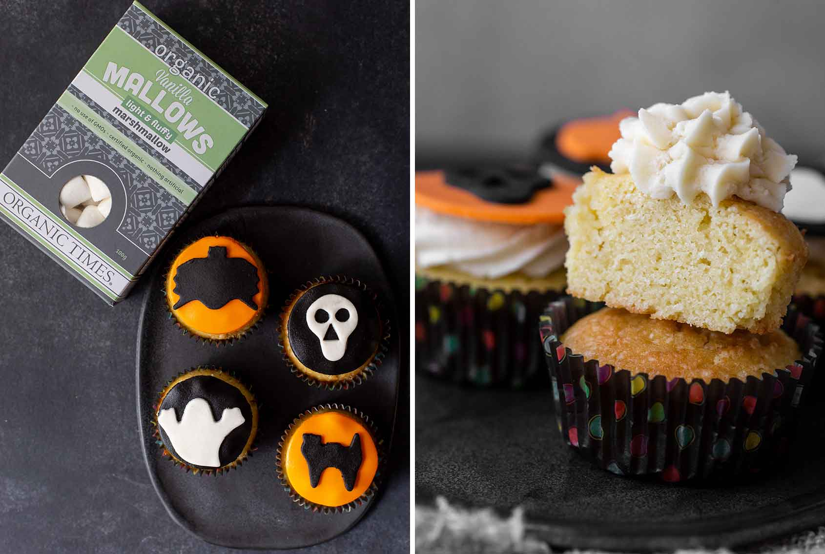 Organic Times Marshmallows next to Vanilla cupcakes with halloween images on top