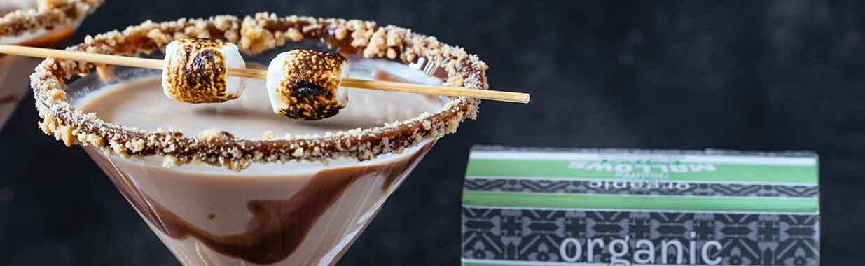 Chocolate martini with marshmallows on top