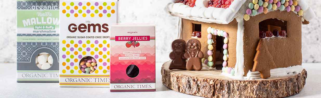 Organic Times marshmallows little gems and berry jellies gingerbread house