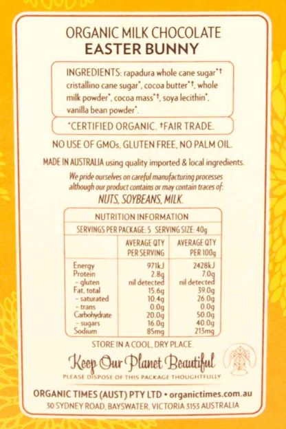 Organic Times Milk Chocolate Easter Bunny Ingredients