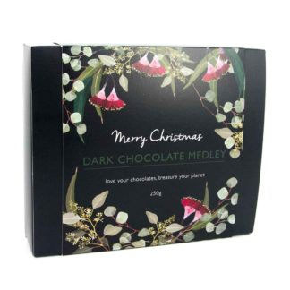 A box of organic times Christmas dark chocolate medley
