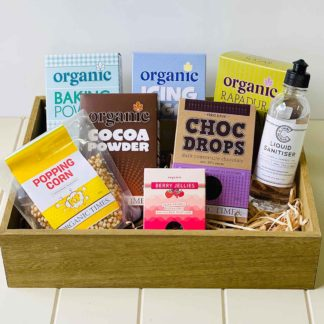 a crate of Organic Times baking essentials and treats