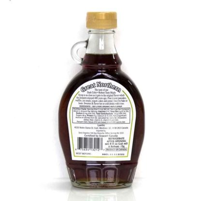 a bottle of Canadian 100% organic pure maple syrup