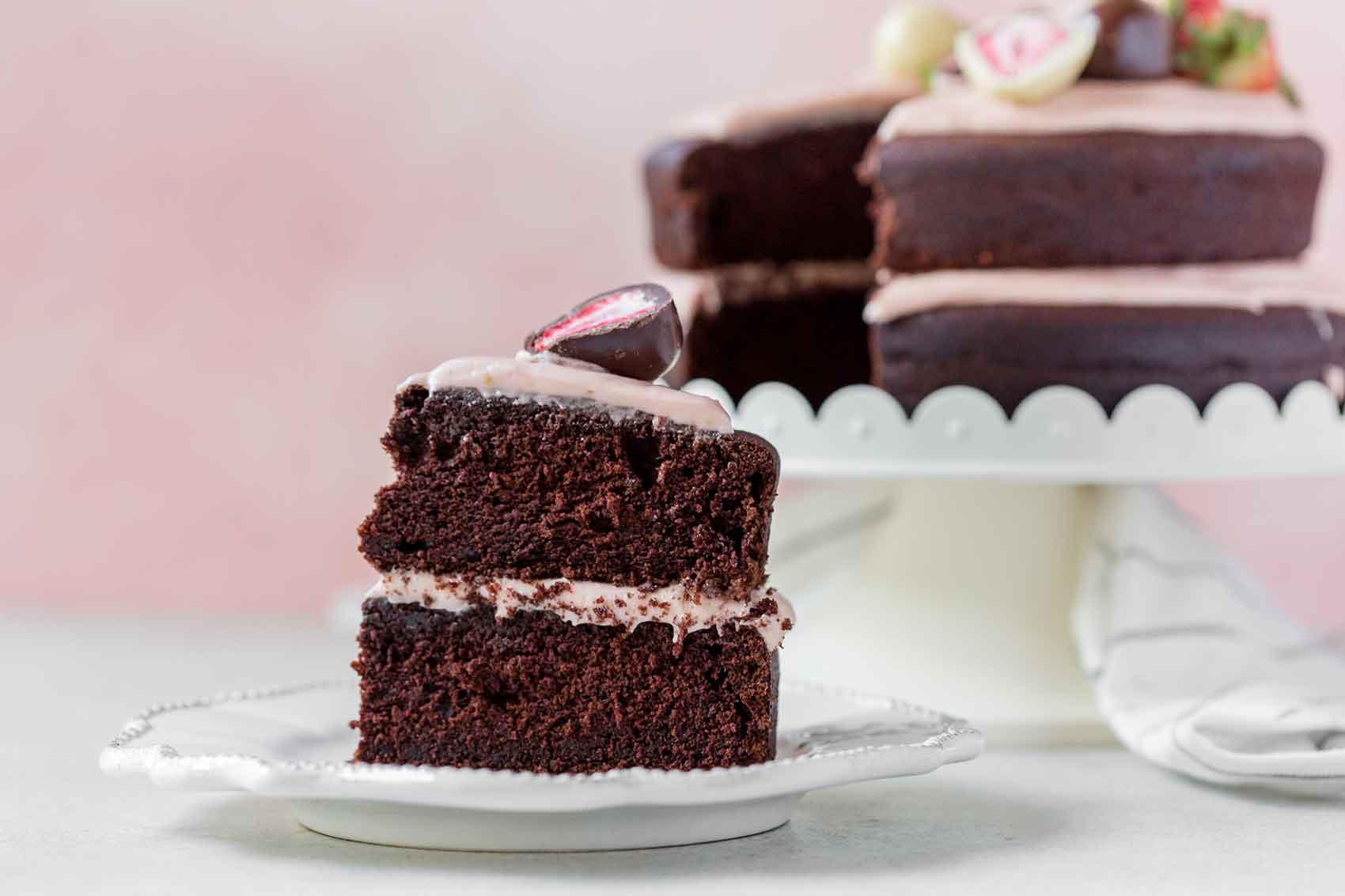A slice of a strawberry chocolate cake