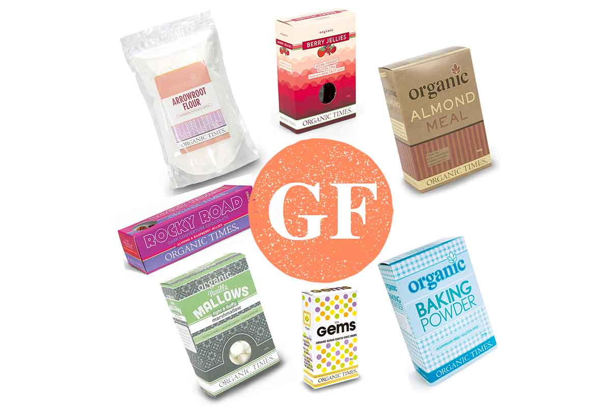 boxes of organic times gluten free products